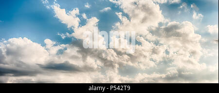 Dramatic blue sky with scenic clouds texture with copy space, may be used as background - Stock Photo