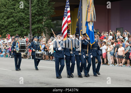 Indianapolis, Indiana, USA - May 26, 2018, Members of the US Air Force carry the American flag at the Indy 500 Parade - Stock Photo