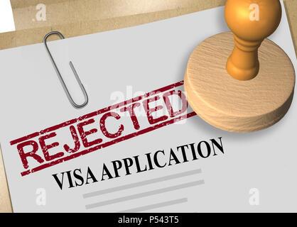 3D illustration of REJECTED stamp title on visa application form - Stock Photo