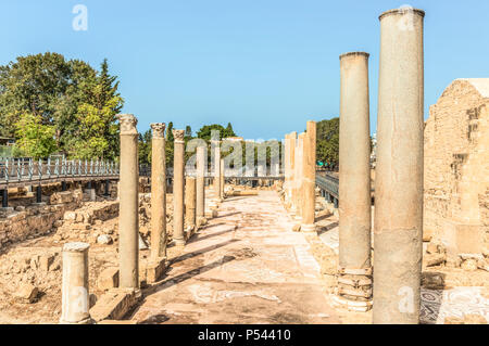 Ancient Roman ruins in the archaeological park of Paphos, Cyprus. - Stock Photo