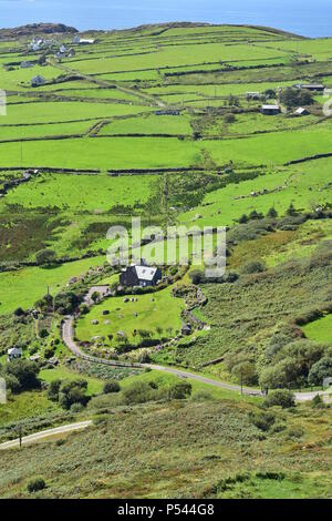 Summer green fields of west coast of Ireland with Atlantic ocean in background. Portrait view. - Stock Photo