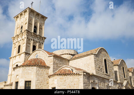 Orthodox church of agios Lazaros at Cyprus, Larnaca.  Cloudy sky backdrop. Religious and tourism destination. - Stock Photo