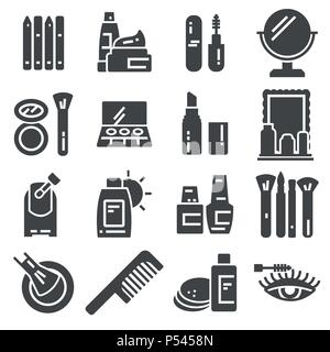 Set of Cosmetics Related Vector Icons. Contains such Icons as Cream Bottle, Lipstick, Makeup Brush and more - Stock Photo