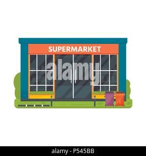 Vector flat design restaurants exterior and shops facade:  supermarket. Store front window buildings icons isolated on white background. - Stock Photo