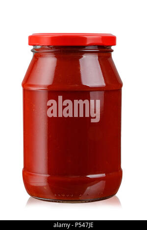 tomato paste in a jar isolated on white background. clipping path - Stock Photo