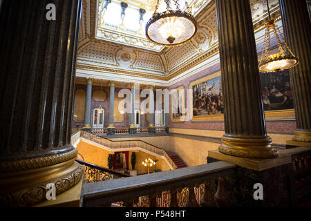 Interior photographs showing the Grand Hall and staircase of Lancaster House, managed and run by The United Kingdom Foreign & Commonwealth Office, UK - Stock Photo