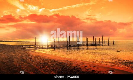 Sunset at golden hour next to Miami Playa, in Montroig. Tarragona beach landscape with empty copy space. - Stock Photo