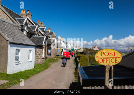 Looking along the main street of Baile Mor, the main settlement on the Hebridean island of Iona, Argyll and Bute, Scotland, UK - Stock Photo