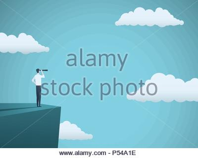 Business vision or visionary vector concept with businessman standing on top of cliff with telescope. Symbol of succes, ambition, leadership. Eps10 ve - Stock Photo
