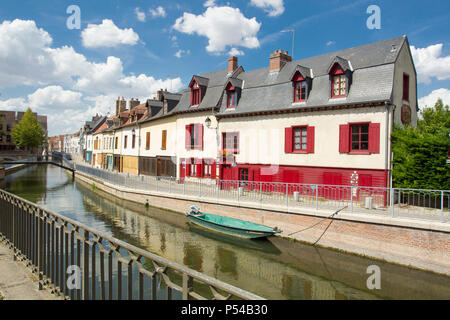Amiens (northern France): Òrue dÕEngoulventÓ, street alongside the Somme river in the district of Saint-Leu - Stock Photo