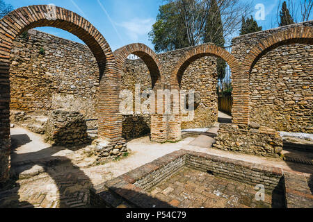 The ruins of the Arab baths in town of Ronda, Andalusia, Spain - Stock Photo