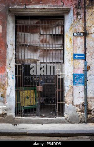 HAVANA, CUBA - CIRCA MAY 2016:  Abandoned store in Centro Havana, Cuba. - Stock Photo