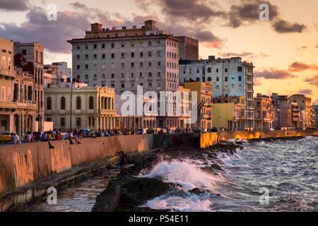 HAVANA, CUBA - CIRCA MAY 2016: View of the Malecon in Havana, Cuba. - Stock Photo