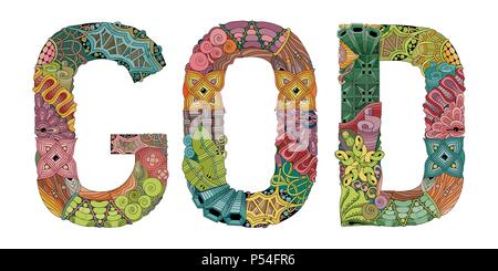 Hand-painted art design. Hand drawn illustration word GOD for t-shirt and other decoration - Stock Photo