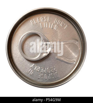 The top of a historic ring-tab operner on the top of an aluminum beer can with the messages of 'Please Don't Litter' and 'Dispose of Properly.' - Stock Photo