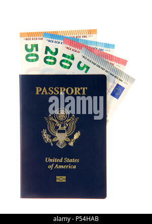 U.S. Passport with European banknotes euros sticking out of the top. Travel from the U.S. to Europe, planning ahead getting money converted - Stock Photo