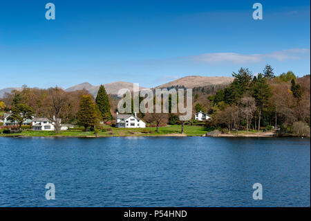 Beautiful lakeside village situated on the bank of Lake Windermere in the scenic Lake District National Park, South Lakeland, North West England, UK - Stock Photo