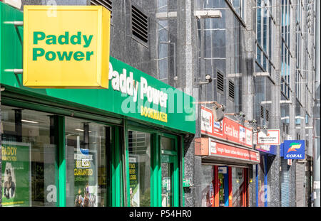 Coral and Paddy Power Bookmakers on a Birmingham high street, England, UK - Stock Photo