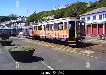 Manx Electric Railway No 22 at Derby Castle Station, Douglas, Isle of Man - Stock Photo