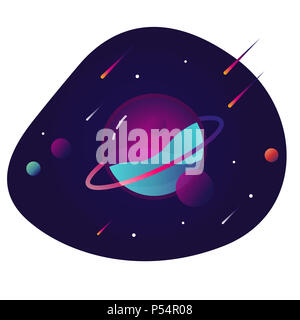 Vibrant colorful planet with stars and speeding comets. Outer space conceptual icon in modern flat material design style. EPS 10 - Stock Photo