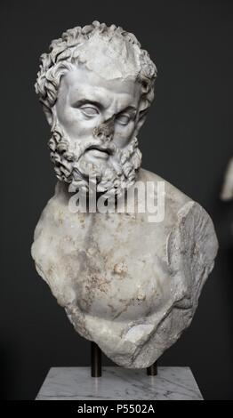 Roman Art. Heracles. 4th century. Marble. From  The Esquiline, Rome. Carrara marble. The statue of the strong bearded man probably depicted Heracles in combat with the Nemean lion. Carlsberg Glyptotek Museum. Copenhagen. Denmark. - Stock Photo