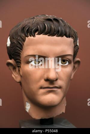 Caligua (Gaius Julius Caesar Augustus Germanicus). (12-41 AD). 3rd roman emperor. Julio-Claudian dynasty. Portrait head for Caligula. Modern reconstruction. Ny Carlsberg Glyptotek. Copenhagen, Denmark. - Stock Photo