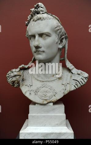 Caligua (Gaius Julius Caesar Augustus Germanicus). (12-41 AD). 3rd roman emperor. Julio-Claudian dynasty. Bust of emperor with armor. Rome, 37-41 AD. Marble. Ny Carlsberg Glyptotek. Copenhagen, Denmark. - Stock Photo