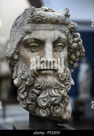 Greek mythology. Dionysus. God of wine. Roman statue. 2nd century AD. Marble. Ny Carlsberg Glyptotek. Copenhagen, Denmark. - Stock Photo