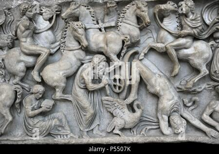 Roman Art. Sarcphagus Chest with the Phaeton Myth. Detail. The fall of Phaeton. Found in Ostia. Late 2nd cent. AD. Marble. Ny Carlsberg Glyptotek. Copenhagen. Denmark. - Stock Photo