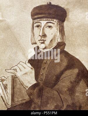 Juan Ruiz (ca.1283-ca. 1350), known as the Archpriest of Hita (Arcipreste de Hita). Medieval Spanish poet. Portrait. - Stock Photo