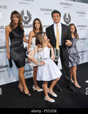 Sylvester Stallone, wife Jennifer Flavin and daughters The Expendable Exclusive World Sneek Preview at the Chinese Theatre in Los Angeles.SlyStallone JenniferFlavin daughters 11  Event in Hollywood Life - California, Red Carpet Event, USA, Film Industry, Celebrities, Photography, Bestof, Arts Culture and Entertainment, Celebrities fashion, Best of, Hollywood Life, Event in Hollywood Life - California, Red Carpet and backstage, Music celebrities, Topix, Couple, family ( husband and wife ) and kids- Children, brothers and sisters inquiry tsuni@Gamma-USA.com, Credit Tsuni / USA, 2010 - Stock Photo