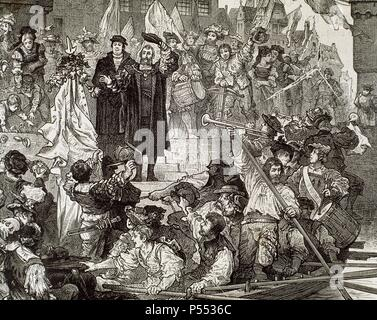 OPITZ VON BOBERFELD, Martin (Bunzlau,1597-Danzig,1639). Poeta aleman. Principal exponente de la renovacion de la poesia alemana en el siglo XVII. Establecio los cimientos de la metrica alemana. Fue secretario de Ladislao IV de Polonia. Grabado. - Stock Photo