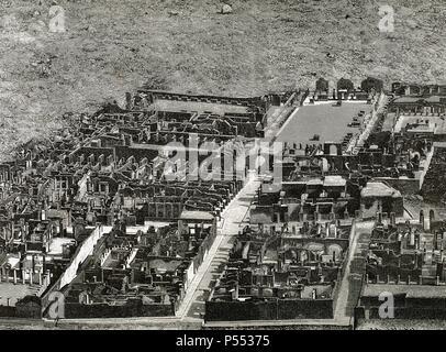 Vista aérea de las excavaciones de la ciudad de POMPEYA, descubierta a finales del s. XVIII. Grabado de K. Henkil, año 1890. - Stock Photo
