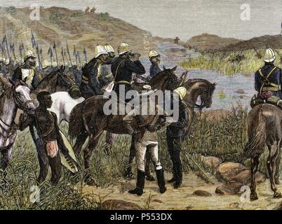 Capture of Cetshwayo. The detachment of Major Marter sights the Kraal, last refuge of the ex-king of the Zulus. Colored engraving of Spanish and American Illustration, 1879, after a sketch by an officer of the detachment. - Stock Photo