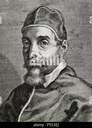 URBANO VIII (Florencia, 1568-Roma, 1644). Papa italiano, de nombre MAFFEO VICENTE BARBERINI fue elegido en 1623. Durante la guerra de los Treinta Años mantuvo una política francófila. Grabado. - Stock Photo