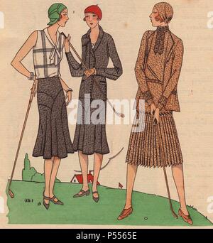 Fashionable women playing golf: Woman in white blouse decorated with lines and pleats, grey wool skirt, green cloche hat; grey crepe silk sports suit in black and white, red cloche hat; tweed sports ensemble in beige and brown, beige cloche hat.. Handcolored pochoir (stencil) lithograph from the French luxury fashion magazine 'Art, Gout, Beaute' 1930. - Stock Photo