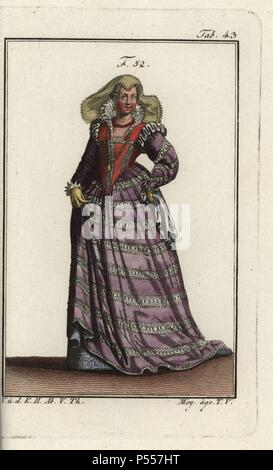 High class woman of Florence. Her dress is decorated with many lace frills, and her necklace with jewels. Illustration from Cesare Vecellio's Habiti Antichi e moderni, Venice, 1590. Handcolored copperplate engraving from Robert von Spalart's 'Historical Picture of the Costumes of the Principal People of Antiquity and of the Middle Ages,' Vienna, 1811. - Stock Photo