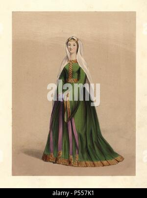 "Anglo-Norman Lady from the reign of King William I, the Conqueror, 1066-1087. She wears a long green full dress with long flared sleeves, a veil and gold diadem. Cotton MS (Nero C.4) in the British Museum. Handcoloured lithograph from 'Costumes of British Ladies from the Time of William the First to the Reign of Queen Victoria,"" London, Dickinson & Son, 1840. 48 mounted plates of women's fashion from 1066 to 1840 based on effigies, manuscripts, portraits, prints and literary descriptions. - Stock Photo"