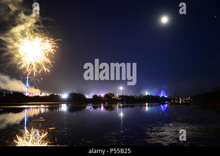 Fireworks on the last night of the Isle of Wight Music Festival at Newport, Isle of Wight, UK. 24th June, 2018. Credit: Matthew Blythe/Alamy Live News - Stock Photo