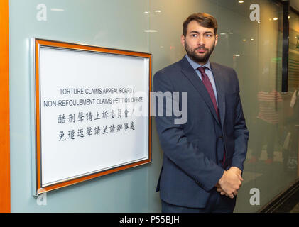 Hong Kong, Hong Kong, China. 25th June, 2018. Supporters and fellow Snowden refugees attend Ajith's torture claim appeal session along with Canadian refugee and human rights Barrister and solicitor Guillaume Cliche-Rivard (pictured).Torture Claim Appeals board North Point Hong Kong Credit: Jayne Russell/ZUMA Wire/Alamy Live News - Stock Photo