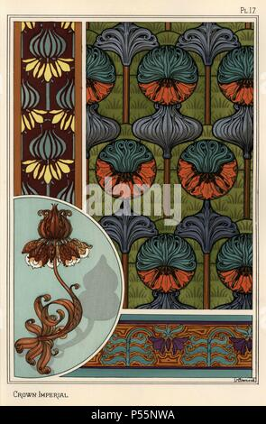 """Crown imperial flower, Fritillaria imperialis, in wallpaper and fabric patterns, and as design for a wrought iron lamp. Lithograph by Verneuil with pochoir (stencil) handcoloring from Eugene Grasset's """"Plants and their Application to Ornament,"""" Paris, 1897. Grasset (1841-1917) was a Swiss artist whose innovative designs inspired the """"art nouveau"""" movement at the end of the 19th century. - Stock Photo"""