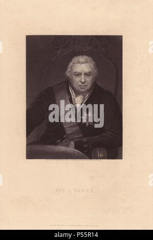 Sir Joseph Banks, 1st Baronet, GCB, PRS (1743–1820), English naturalist, botanist and explorer. . . Original oil portrait by Thomas Phillips shows Banks wearing the insignia of the Order of the Bath, engraved on steel by Wagstaff from Charles Knight's 'Gallery of Portraits' 1835. - Stock Photo