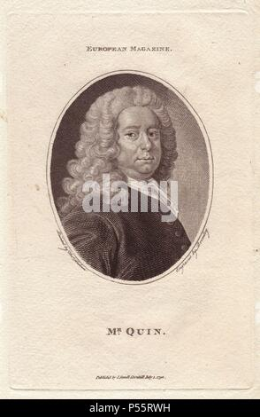 Mr. James Quin (1693-1766), English actor. Famous for killing the actor Bowen and another younger actor in duels and swordfights.. Copperplate engraving by Bromley from a portrait by Thomas Rowlandson, published in the European Magazine, 1792. - Stock Photo
