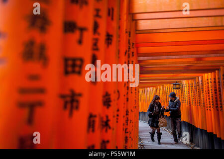 Torii gates at Fushimi Inari-Taisha sanctuary,Kyoto, Japan - Stock Photo