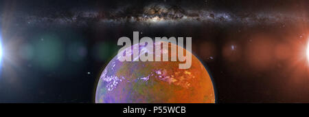 beautiful exoplanet, part of an alien binary star system with a red and blue star (3d space illustration banner) - Stock Photo