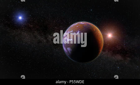 beautiful exoplanet, part of an alien binary star system with a red and blue star - Stock Photo