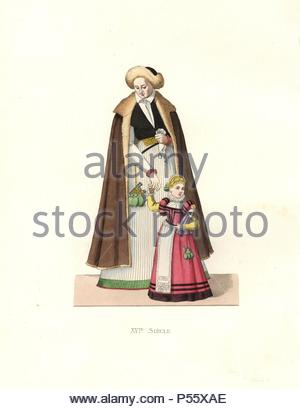 Woman of Silesia and girl, 16th century. The woman in brown bodice and long skirt, with a fur-lined brown coat and hat, the girl in pink bodice and skirt with apron and ruff, carrying a doll dressed the same.. Handcolored illustration by E. Lechevallier-Chevignard, lithographed by A. Didier, L. Flameng, F. Laguillermie, from Georges Duplessis's 'Costumes historiques des XVIe, XVIIe et XVIIIe siecles' (Historical costumes of the 16th, 17th and 18th centuries), Paris 1867. The book was a continuation of the series on the costumes of the 12th to 15th centuries published by Camille Bonnard and Pau - Stock Photo