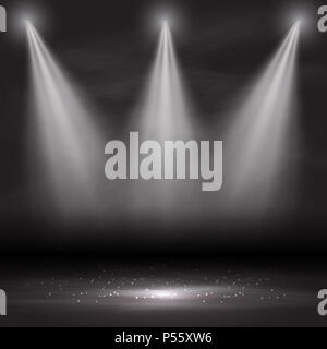 Three spotlights shining down in an empty room - Stock Photo