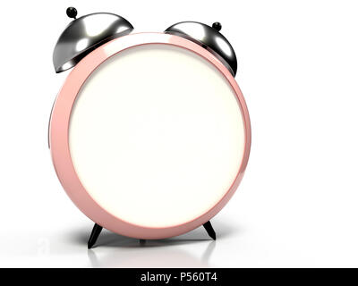 3D alarm clock with blank space on the dial for your text or graphics. 3D rendering - Stock Photo