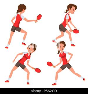 Table Tennis Female Player Vector. Game Match. Silhouettes. Playing In Different Poses. Woman. Athlete Isolated On White Cartoon Character Illustration - Stock Photo